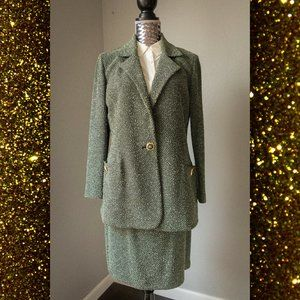 St John Two Piece Knitted Sage Green Skirt Suit